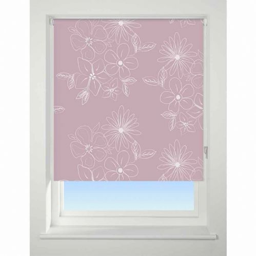 Universal Patterned Blackout Roller Blind - Floral Cluster Pink